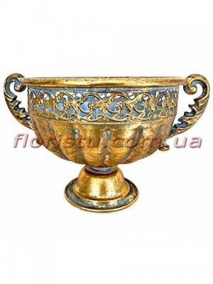 Кашпо металлическое Чаша античная Золото 20 см