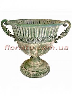 Кашпо металлическое Кубок античный №4 зеленый 24 см