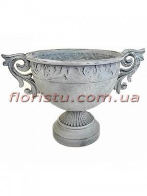 Кашпо металлическое Кубок античный №5 серый 22 см