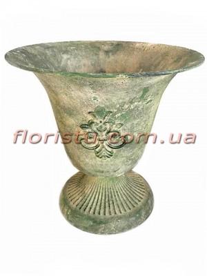 Кашпо металлическое Кубок античный №2 зеленый 20 см