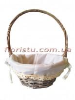 Корзинка плетеная натуральная с подкладкой и кружевом 28 см