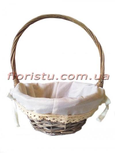 Корзина плетеная натуральная с подкладкой и кружевом 28 см