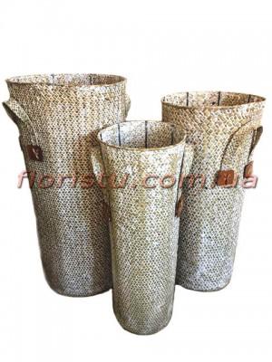 Набор высоких плетеных корзин Песочного цвета 3 шт.