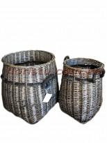 Набор плетеных корзин серого цвета 2 шт.