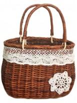 Корзина плетеная из лозы Сумочка с кружевом 25 см