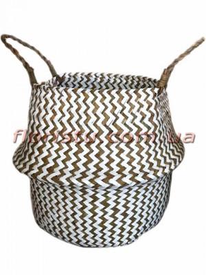 Корзина-трансформер плетеная Бело-коричневая 28 см