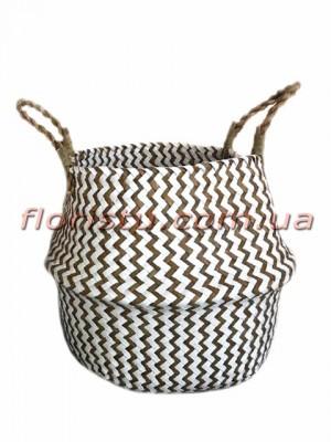 Корзина-трансформер плетеная Бело-коричневая 21 см
