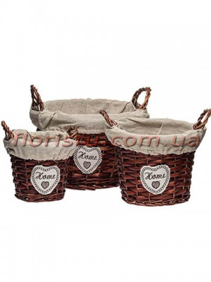 Набор плетеных корзин HOME круглых коричневых с тканевой подкладкой 3 шт.