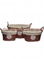 Набор плетеных корзин HOME овальных коричневых с тканевой подкладкой 3 шт.