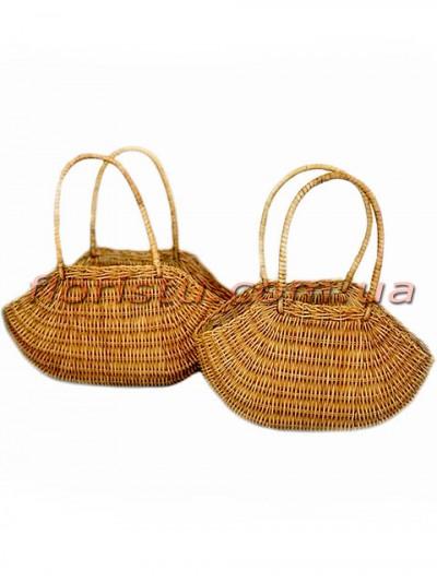 Корзины-сумки плетеные натуральные набор 2 шт.