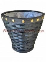Кашпо плетеное с заклепками Черное 21 см