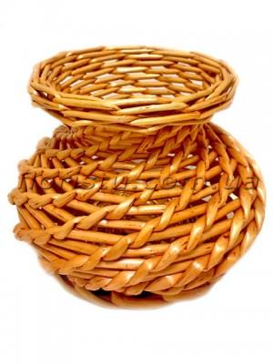 Вазочка плетеная натуральная светло-коричневая 11 см