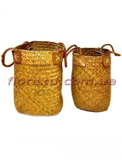 Корзины плетеные коричнево-оливковые набор 2 шт.