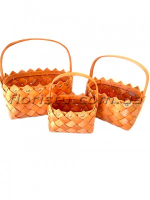 Набор плетеных корзин лукошко коричневых 3 шт.