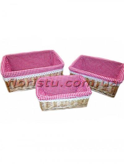 Набор плетеных ящиков с тканевой подкладкой 3 шт.