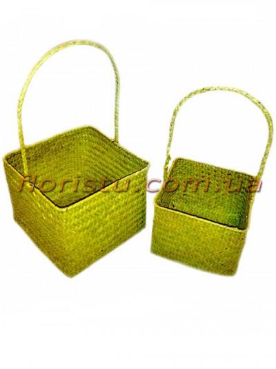 Корзины плетеные Квадрат желто-зеленые набор 2 шт.