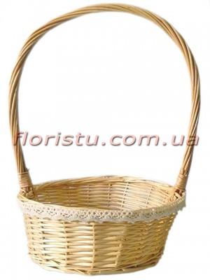 Корзина плетеная натуральная с кружевом 36 см
