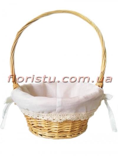Корзина плетеная натуральная с подкладкой и кружевом 32 см