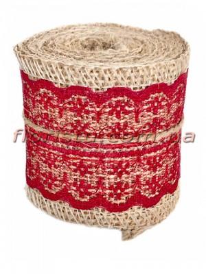 Мешковина с кружевом №3 Красным 5,5 см 2 м