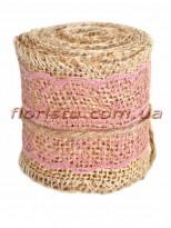 Мешковина с кружевом №3 Розовым 5,5 см 2 м