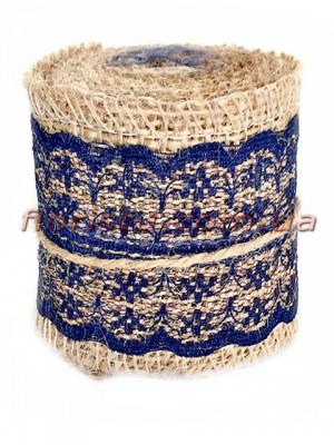 Мешковина с кружевом №3 Темно-синим 5,5 см 2 м