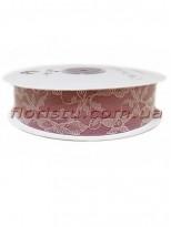 Лента гипюр+атлас 2,5 см Пепельно-розовая винтажная 22,5 м