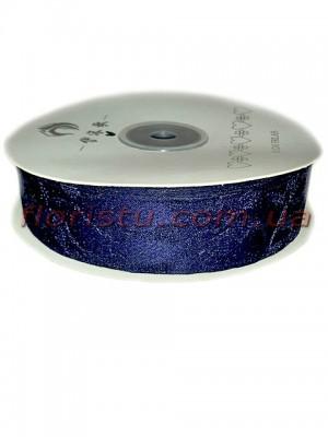 Лента гипюр+атлас 2,5 см Темно-синяя 22,5 м