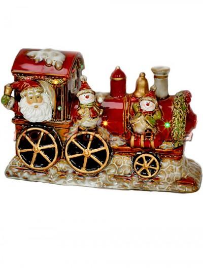 Новогодний фарфоровый декор Санта в паровозе с LED-подсветкой 31 см