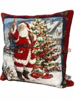 Новогодняя велюрово-гобеленовая подушка EMILY HOME 45*45 см №07