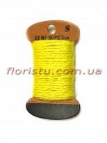 Шнурок натуральный для декора Желтый 2 мм 11 м