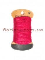 Шнурок натуральный для декора Малиновый 2 мм 11 м