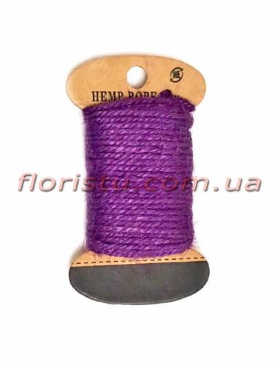 Шнурок натуральный для декора Фиолетовый 2 мм 11 м