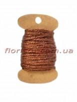 Шнурок натуральный для декора Коричневый 2 мм 11 м