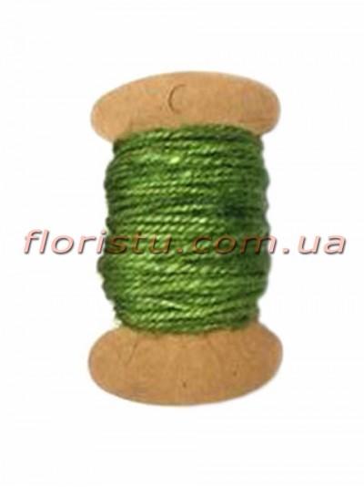 Шнурок натуральный для декора Зеленый 2 мм 11 м