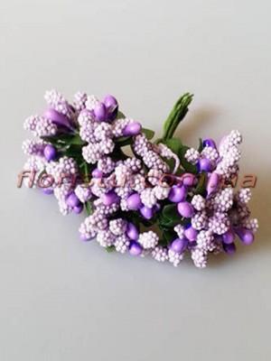 Тычинки на веточках с листочками фиолетово-сиреневые 10 см