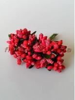 Тычинки на веточках с листочками красные Винтаж 10 см