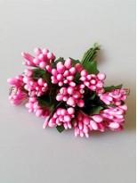 Тычинки на веточках с листочками глянцевые Розовые 10 см