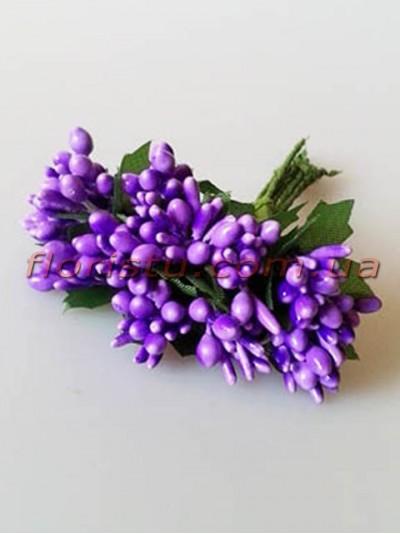 Тычинки на веточках с листочками глянцевые Фиолетовые 10 см