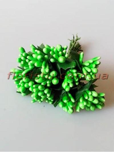 Тычинки на веточках с листочками глянцевые Зеленые 10 см