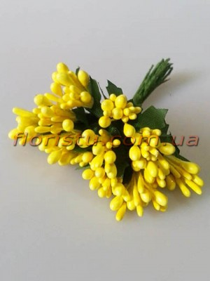 Тычинки на веточках с листочками глянцевые Желтые 10 см
