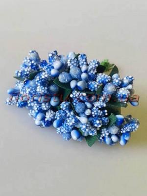 Тычинки на веточках с листочками голубые 10 см