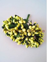 Тычинки на веточках с листочками глянцевые оливковые 10 см