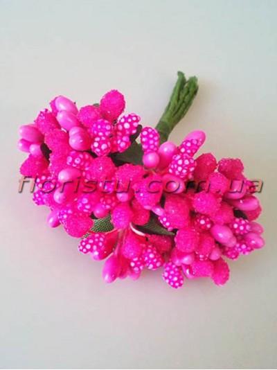 Тычинки на веточках с листочками Розово-малиновые 10 см