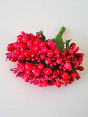 Тычинки на веточках с листочками глянцевые Винтажно-красные 10 см
