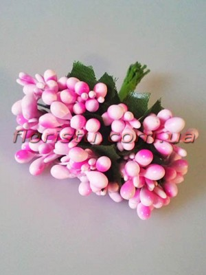 Тычинки на веточках с листочками глянцевые Светло-розовые 10 см