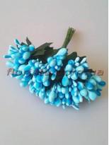 Тычинки на веточках с листочками глянцевые Голубые 10 см
