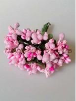 Тычинки на веточках с листочками Розовые 10 см