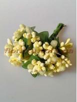 Тычинки на веточках с листочками Ванильно-желтые 10 см