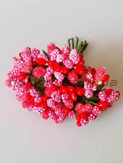 Тычинки на веточках с листочками Розово-красные 10 см