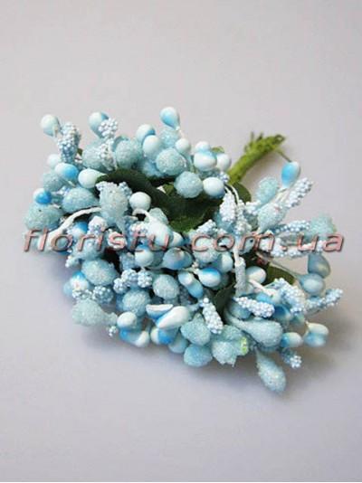 Тычинки на веточках с листочками светло-голубые 10 см